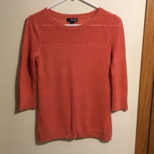A.N.A 3/4 sleeve coral sweater with knit details
